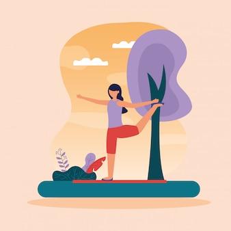 Yoga all'aperto in stile piatto