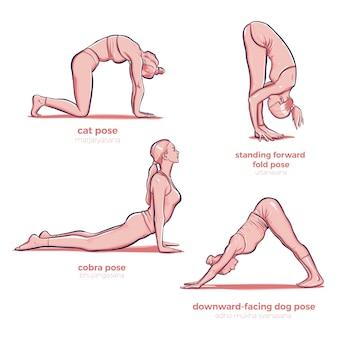 Yoga che allunga le pose di forma fisica di allungamento