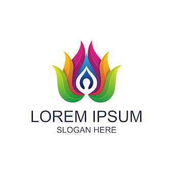 Yoga colorato con logo di loto
