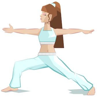 Yoga della ragazza, virabhadrasana