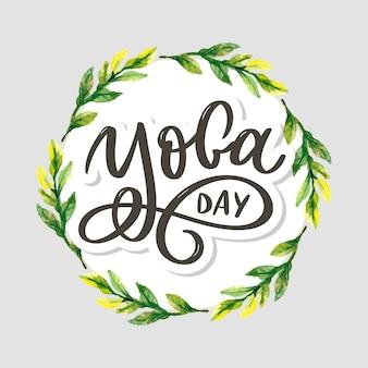 Yoga delle lettere. sfondo giornata internazionale dello yoga. design per poster, magliette, borse. tipografia yoga. elementi per etichette, loghi, icone, badge.