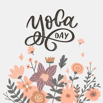 Yoga delle lettere. sfondo giornata internazionale dello yoga. per poster, magliette, borse. tipografia yoga. elementi vettoriali per etichette, loghi, icone, badge.
