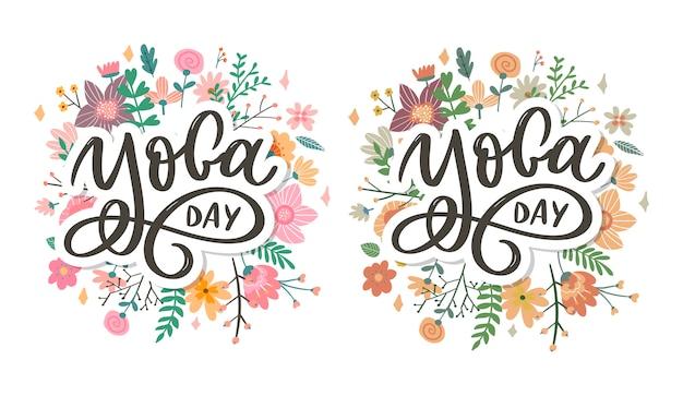 Yoga delle lettere. sfondo giornata internazionale dello yoga. vettore per poster, magliette, borse. tipografia yoga. elementi vettoriali per etichette, loghi, icone, badge.