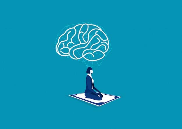 Yoga di meditazione della donna di affari con il cervello positivo su grandi soldi