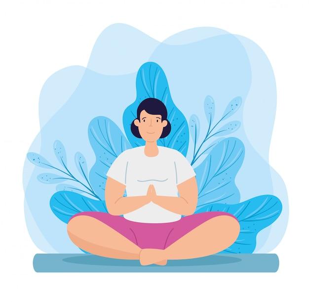 Yoga di pratica della giovane donna con progettazione dell'illustrazione della decorazione delle foglie