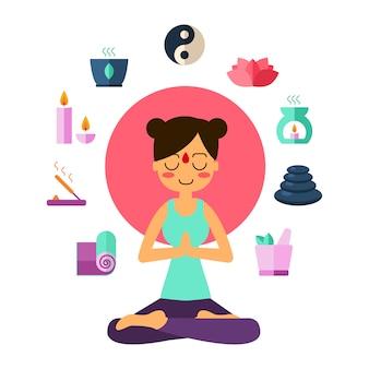 Yoga di pratica della giovane donna nella posa del loto.