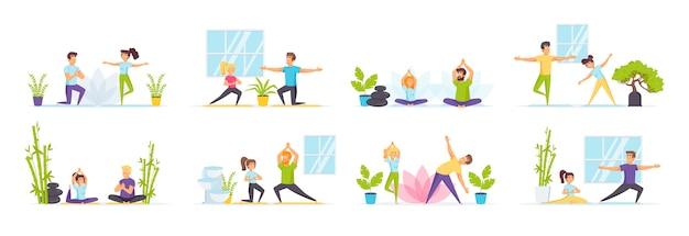 Yoga familiare impostato con personaggi di persone in varie scene e situazioni.