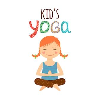 Yoga logo bambini design con ragazza