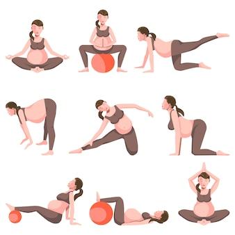 Yoga per la raccolta di icone di donne incinte su bianco