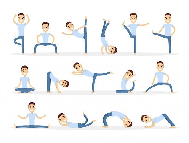 Yoga per uomini set di esercizi su bianco.