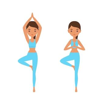 Yoga. posa. donna piatta in piedi in posa yoga vrikshasana. icona personaggio femminile. illustrazione.