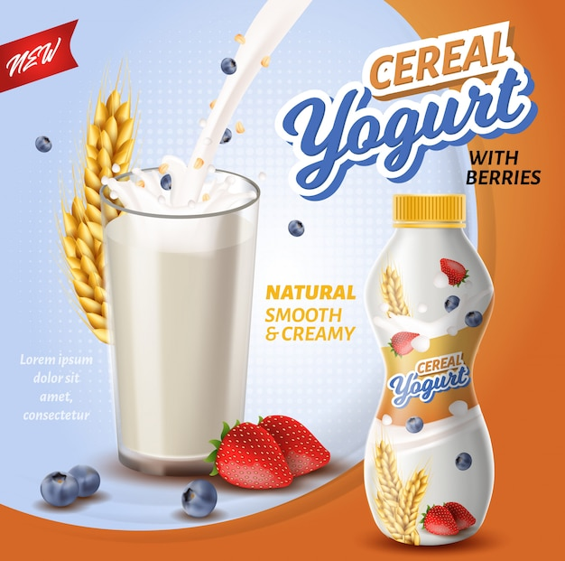 Yogurt di cereali con frutti di bosco.