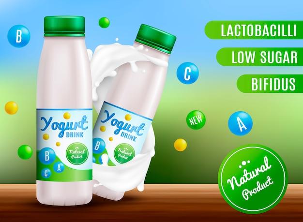 Yogurt realistico. panna acida e prodotti di yogurt. etichetta d'imballaggio 3d spruzzata del latte