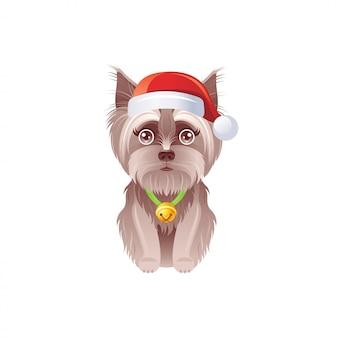 Yorkshire terrier sveglio in cappello di santa con jingle bell. cane di natale dei cartoni animati.