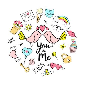 You and me lettering con scarabocchi girly per la progettazione di carte san valentino