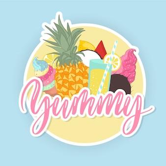 Yummy etichetta scritta a mano con frutti tropicali.