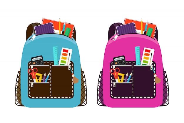 Zaini blu e rosa. i pacchetti della borsa di scuola dei bambini isolati con il taccuino e l'attrezzatura per l'istruzione della classe vector l'illustrazione