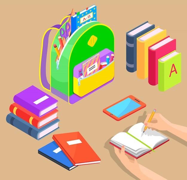 Zaino con materiale scolastico e libri vettore