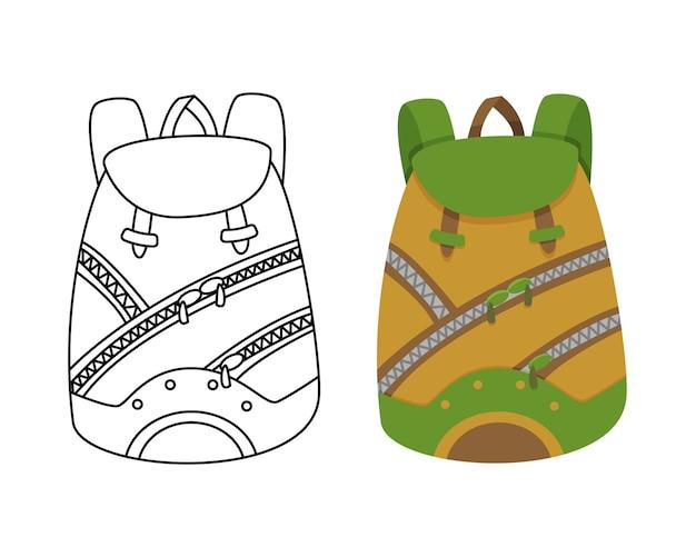 Zaino da campeggio colorato in design piatto con illustrazione vettoriale da colorare. zaino turistico retrò. zaino da trekking in stile classico. borsa e zaino per campeggio e trekking.
