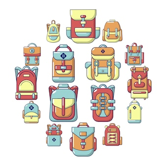 Zaino icon set, stile cartoon