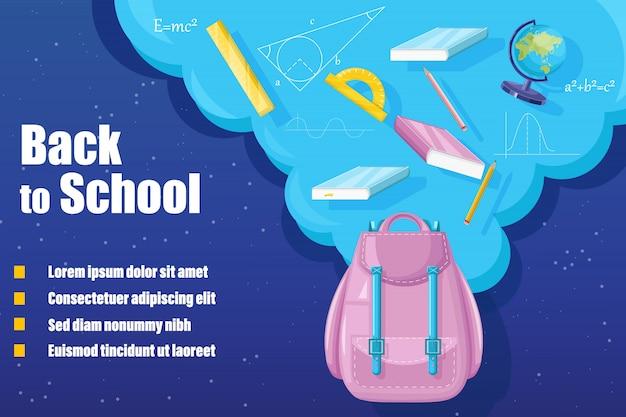 Zaino torna a scuola. la promozione della vendita pubblicizza banner in stile piatto