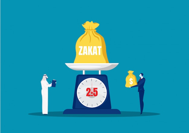 Zakat di paga dell'uomo d'affari dal profitto su ramadan kareem.