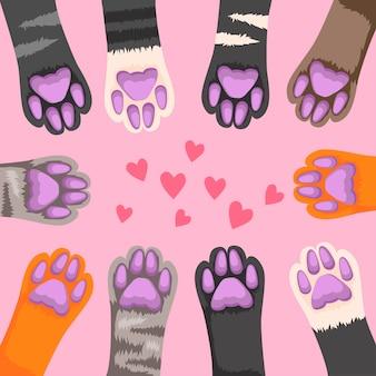 Zampe di gatto. zampa di gattino carino, piede divertente animali domestici.