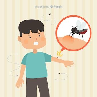 Zanzara che morde una persona con un design piatto
