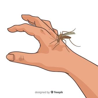 Zanzara disegnata a mano che morde una mano
