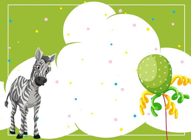 Zebra in un modello di cornice del partito
