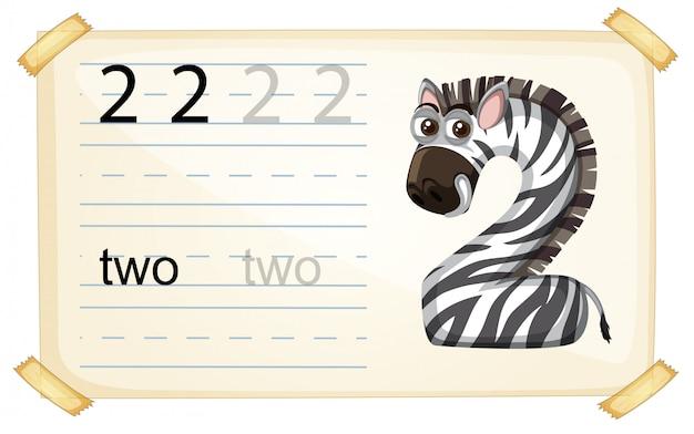 Zebra numero due foglio di lavoro
