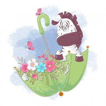 Zebra sveglia del fumetto in un ombrello con i fiori.
