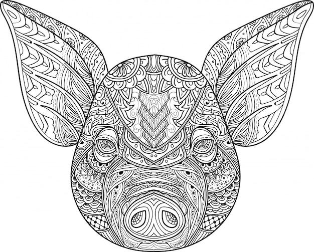 Zentangle stilizzato doodle vettoriale della testa di maiale