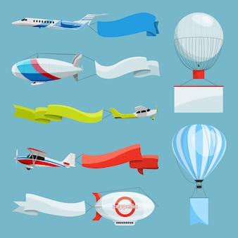 Zeppelin e aeroplani con striscioni vuoti per messaggi pubblicitari. illustrazioni vettoriali aereo e zeppelin con pubblicità con posto per il vostro testo