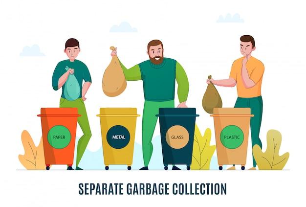 Zero rifiuti attenti all'ambiente immondizia raccolta raccolta differenziata riciclaggio materiali elaborazione banner orizzontale piatto promozione