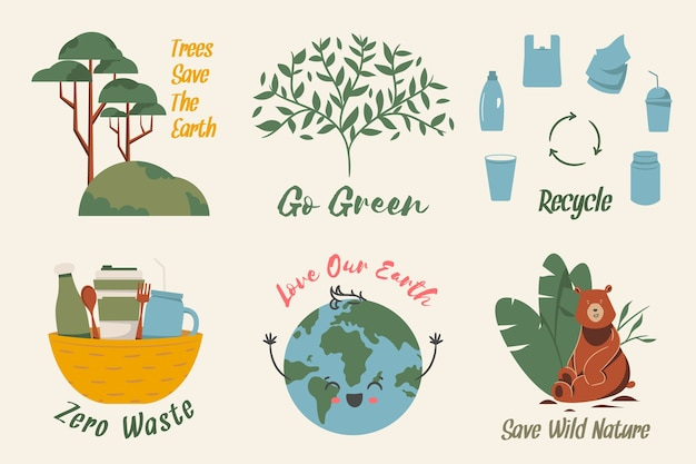 Zero rifiuti che adorano la collezione di badge ecologia della terra