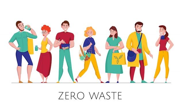 Zero sprechi attenti all'ambiente, persone in plastica, ecologiche, amichevoli che indossano abiti orizzontali piatti set orizzontale