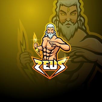 Zeus esport design del logo mascotte