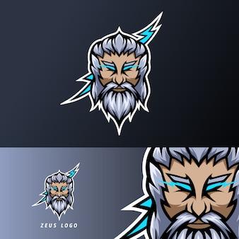 Zeus god lightning mascot sport esport logo template baffi a barba spessa