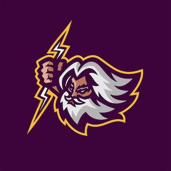 Zeus gods esport gioco logo mascotte modello