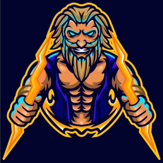 Zeus thunderbolt god mascot muscle logo template