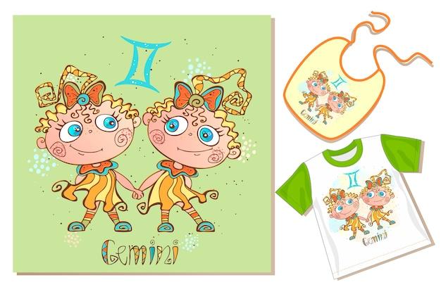 Zodiaco dei bambini. segno gemelli