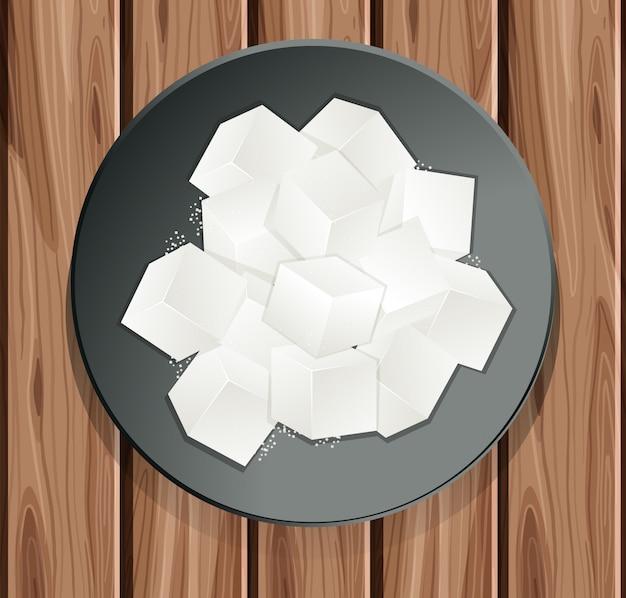 Zolletta di zucchero nel piatto