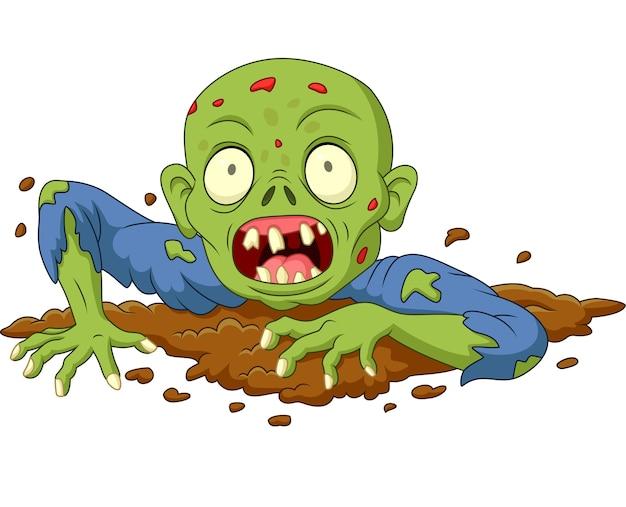 Zombie del fumetto dalla terra isolato su fondo bianco