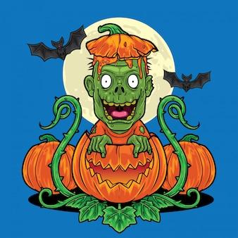 Zombie di halloween che esce dalla priorità bassa della zucca