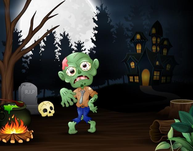 Zombie felice all'aperto con sfondo casa stregata