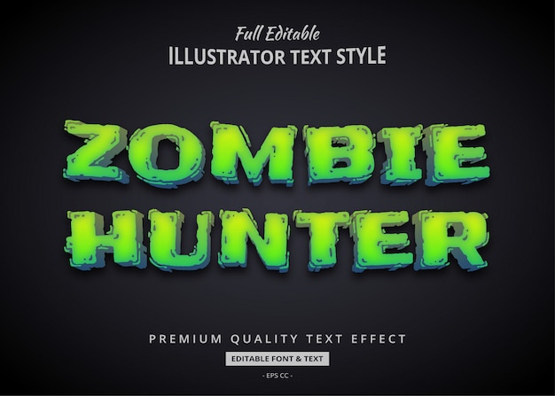 Zombie hunter text style effect premium