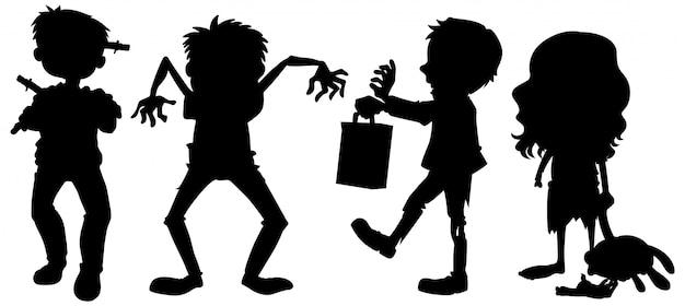 Zombie in silhouette nel personaggio dei cartoni animati su sfondo bianco