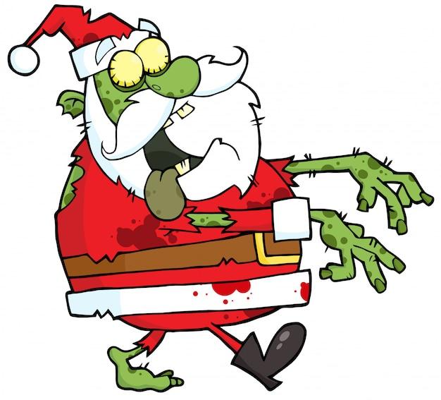 Zombie santa cammina con le mani nella parte anteriore