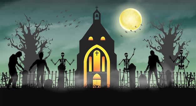 Zombie spaventoso di halloween nel cimitero con la chiesa